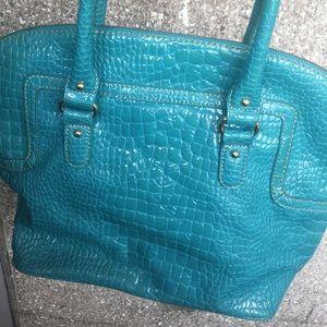 Nine West Turquoise Aqua Blue Embossed  Croc bag
